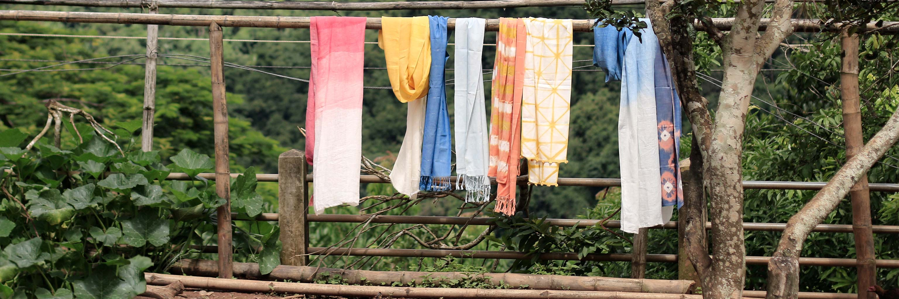 Clothes hanging abroad with a view of the landscape