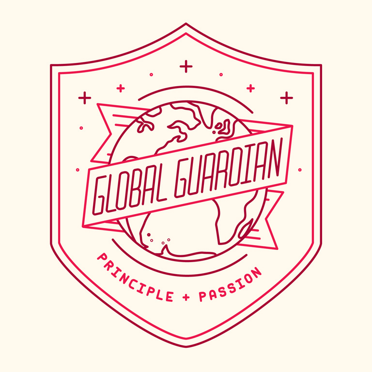 "Illustration reading, ""Global Guardian, Principle + Passion."""