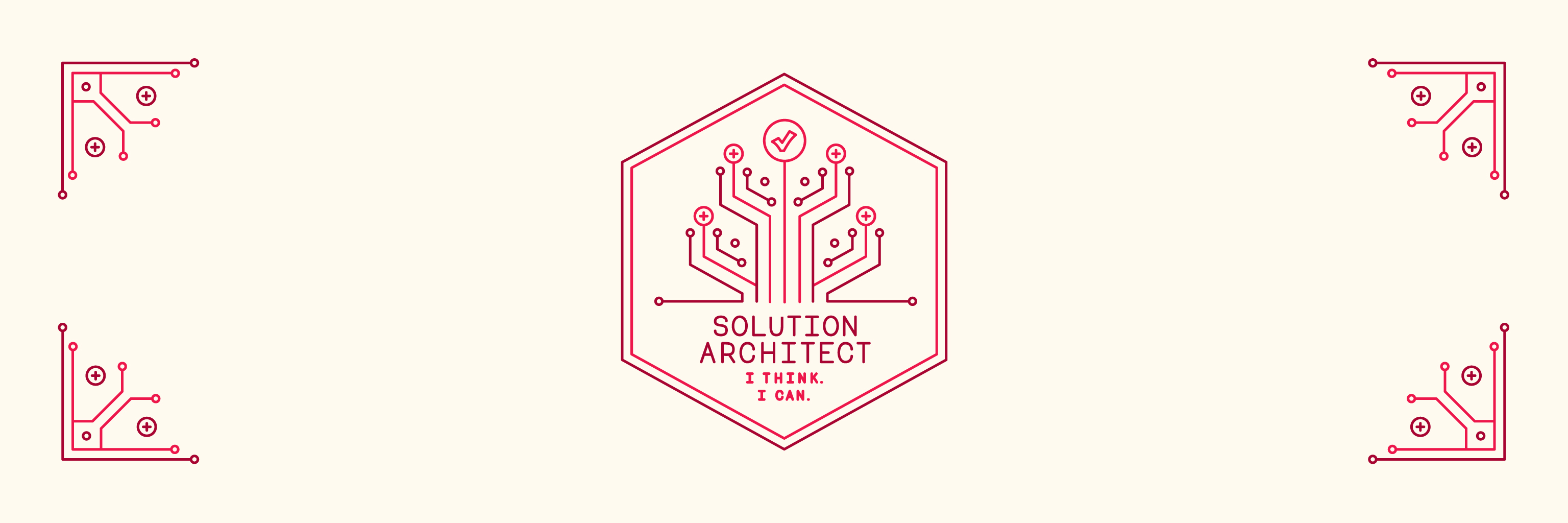 "Illustrated banner reading, ""Solution Architect, I think. I can."""