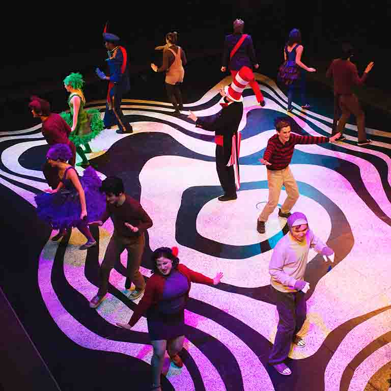 Students perform in the musical Seussical.