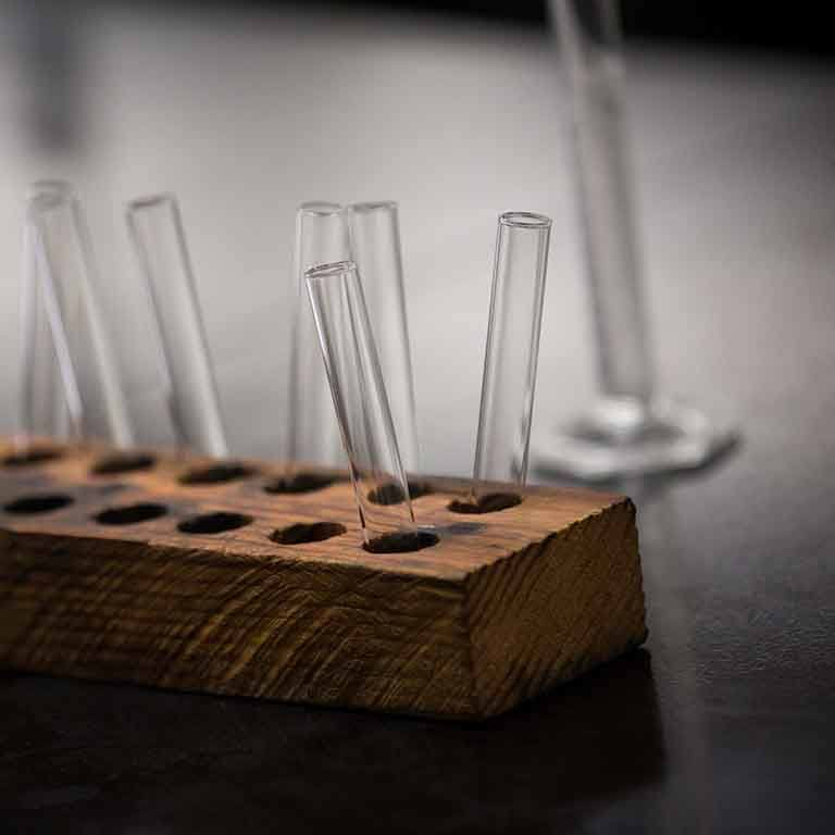 Test tubes sit upright in holes in a wooden block.